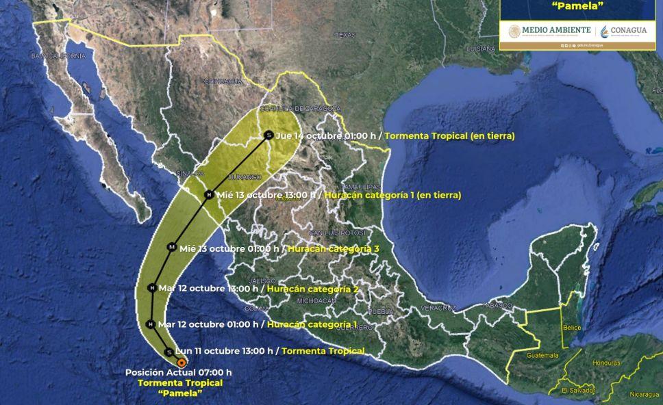 Según el Servicio Meteorológico Nacional, la actual tormenta tropical 'Pamela' amenaza con impactar en México como huracán categoría 3.